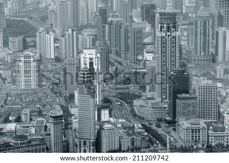 Shanghai urban city aerial view with skyscrapers in black and white