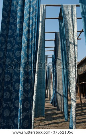 Shanghai, Wuzhen historic scenic town antique product, the Silk dyeing. - stock photo