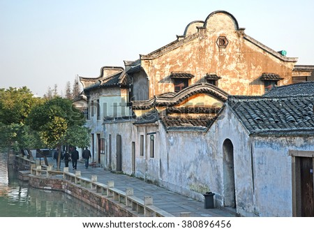 Shanghai, Wuzhen historic scenic town typical old houses design.  - stock photo
