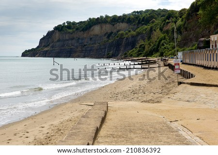 Shanklin Isle of Wight England UK, east coast of the island on Sandown Bay with sandy beach   - stock photo