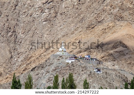 Shanti Stupa is a Buddhist white-domed stupa in Leh, India  - stock photo