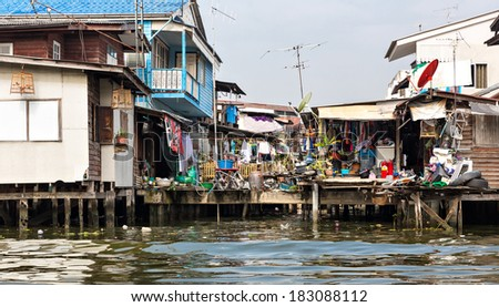 Shanty-town in Thailand - stock photo