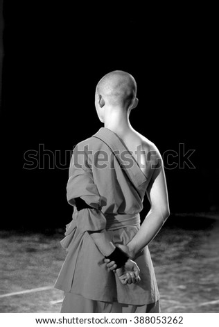 Shaolin monk during the performance of Kung Fu - stock photo