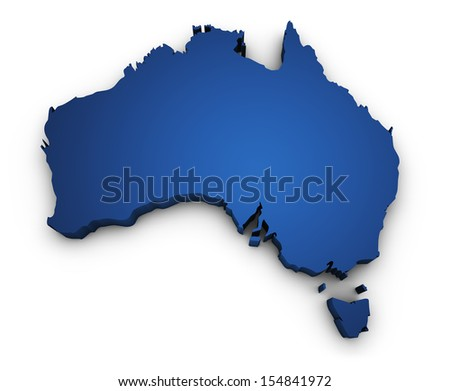 Shape 3d of Australian map colored in blue and isolated on white background. - stock photo