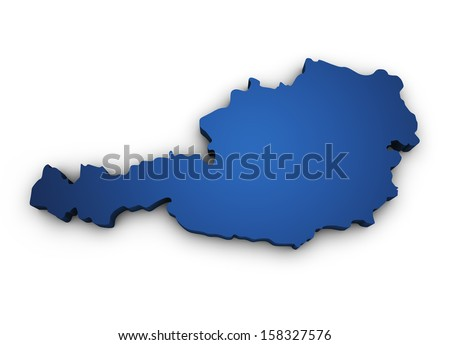 Shape 3d of Austria map colored in blue and isolated on white background. - stock photo