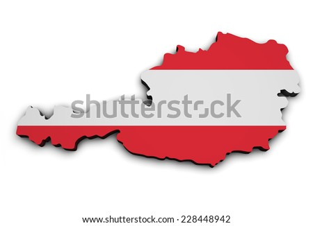 Shape 3d of Austria map with Austrian flag, illustration isolated on white background. - stock photo
