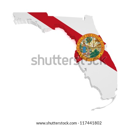 Shape 3d of Florida map with flag isolated on white background. - stock photo