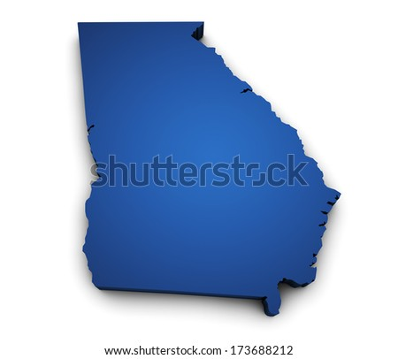 Shape 3d of Georgia State map colored in blue and isolated on white background. - stock photo