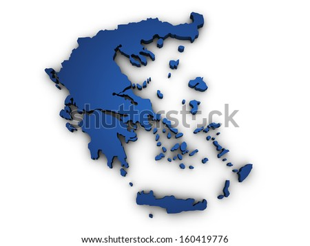Shape 3d of Greece map colored in blue and isolated on white background. - stock photo