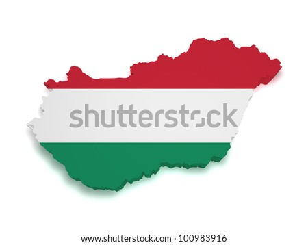 Shape 3d of Hungarian flag and map isolated on white background. - stock photo