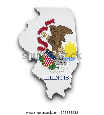 Shape 3d of Illinois state map with flag isolated on white background. - stock photo