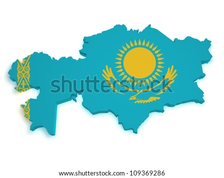 Shape 3d of Kazakhstan flag and map isolated on white background. - stock photo