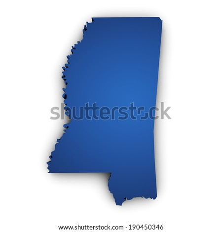 Shape 3d of Mississippi State map colored in blue and isolated on white background. - stock photo