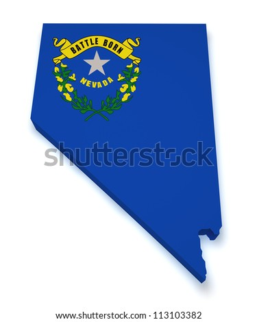 Shape 3d of Nevada map with flag isolated on white background.