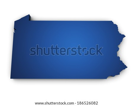 Shape 3d of Pennsylvania State map colored in blue and isolated on white background. - stock photo