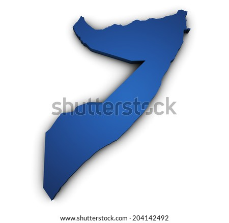 Shape 3d of Somalia map colored in blue and isolated on white background. - stock photo