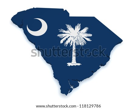 Shape 3d of South Carolina map with flag isolated on white background. - stock photo
