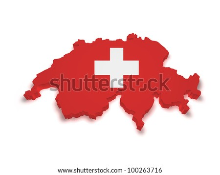 Shape 3d of Swiss flag and map isolated on white background.