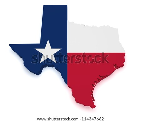 Shape 3d of Texas map with flag isolated on white background. - stock photo