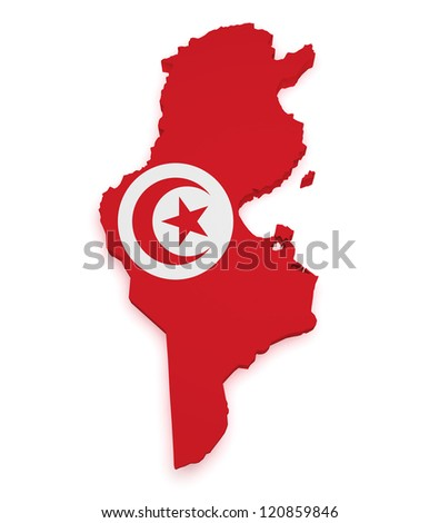 Shape 3d of Tunisia map with flag isolated on white background. - stock photo