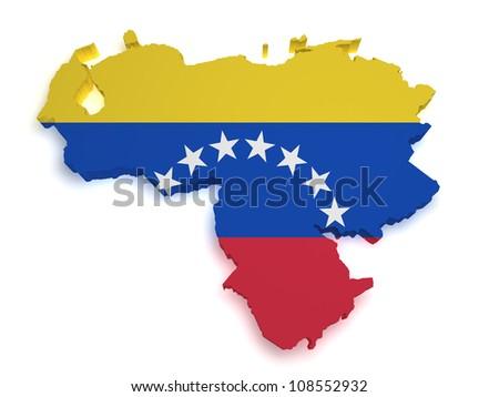 Shape 3d of Venezuelan flag and map isolated on white background. - stock photo