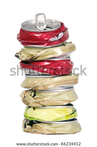 Shape made from smashed cans, pollution and recycling concept - stock photo