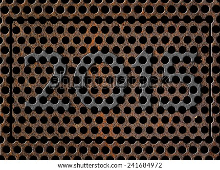 Shape of number 2015 on rusty metal grid texture - stock photo