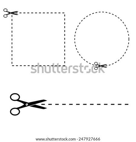 Shape to cut off using scissors.  - stock photo