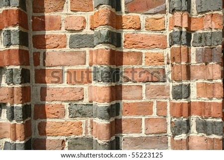 Shaped brick wall of a gothic church