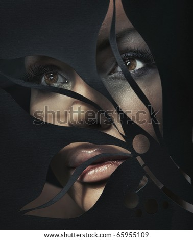 Shaped portrait of a beautiful woman - stock photo