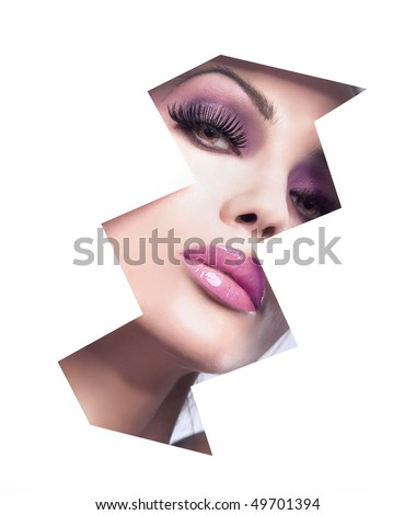 Shaped portrait of young beauty - stock photo
