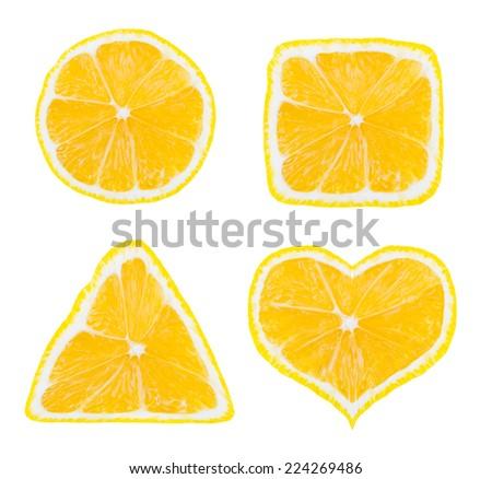 Shapes of lemon fruit isolated on white background - stock photo