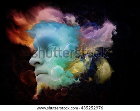 Shards of Dream series. Arrangement of human face and colorful graphic elements on the subject of dreams, mind, spirituality, imagination and inner world - stock photo