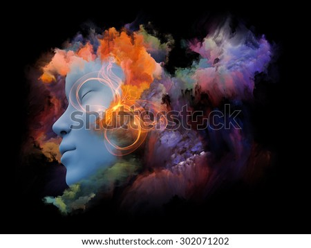 Shards of Dream series. Composition of human face and colorful graphic elements on the subject of dreams, mind, spirituality, imagination and inner world - stock photo