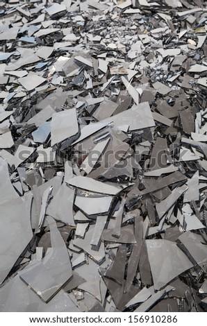 shards of shattered dark glass  - stock photo