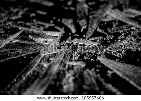 Shards of shattered glass. - stock photo