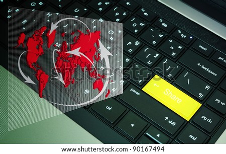 Share button on keyboard with network diagram - stock photo