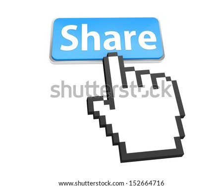 Share Button with Hand Shaped mouse Cursor like good social media share 3d symbol icon button
