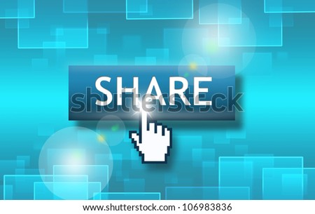Share Button with Internet Hand Icon on Blue Technology theme Background - stock photo
