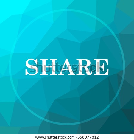 Share icon. Share website button on blue low poly background.