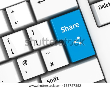Share key on the computer keyboard, three-dimensional rendering