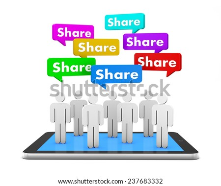 share man and tablet 3d render social media - stock photo