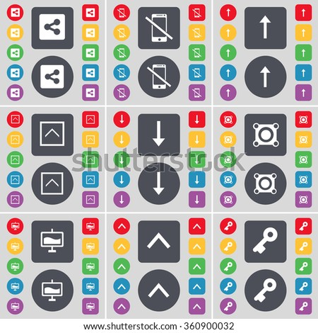 Share, Smartphone, Arrow up, Arrow down, Speaker, Graph, Key icon symbol. A large set of flat, colored buttons for your design. illustration - stock photo