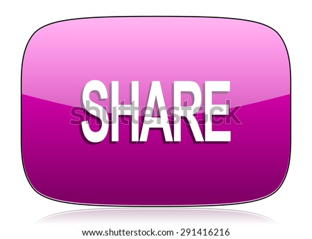 share violet icon  original modern design for web and mobile app on white background with reflection  - stock photo