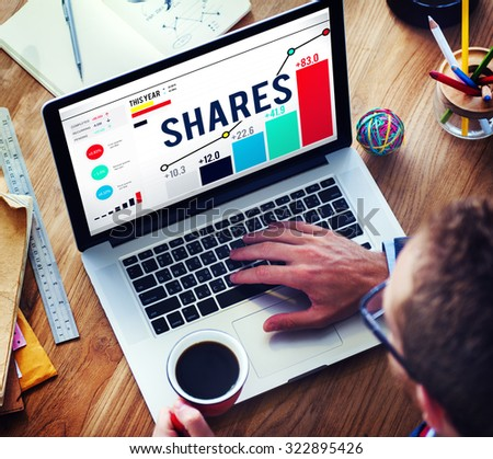 Shares Sharing Shareholder Corporate Concept - stock photo