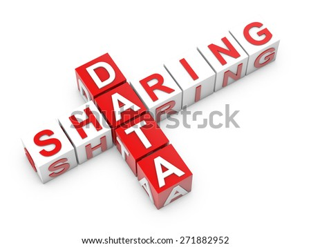 sharing data cubes over white background - stock photo