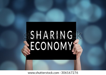 Sharing economy card with bokeh background - stock photo