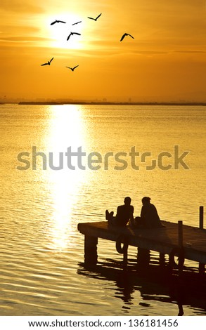 Sharing the best time of day - stock photo