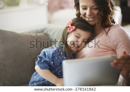 Sharing the funny moments with online friends - stock photo