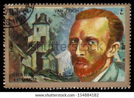 SHARJAH and DEPENDENCIES - CIRCA 1972: A stamp printed in Shiarjah and Dependencies shows Vincent Willem van Gogh (1853-1890), circa 1972 - stock photo